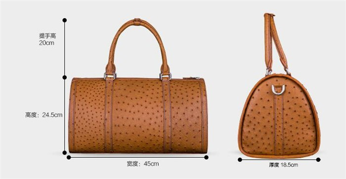 Customize exquisite perfect looking luxury ostrich leather travel duffle bag_6