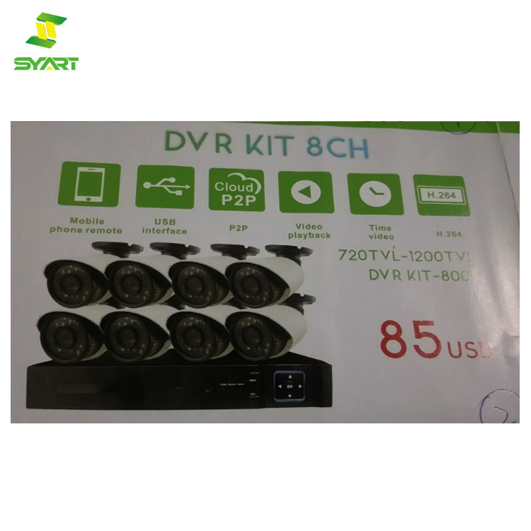 DVR KIT 8PCS Camera 720TVL -1200TVL CCTV System Weatherproof 8CH DVR Kit Video Surveillance Home Security Camera System