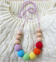 rainbow color hand made wood teething necklace for baby