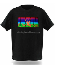 2016 EL t-shirt sound activated flashing T Shirt light up down music party equalizer LED tshirt