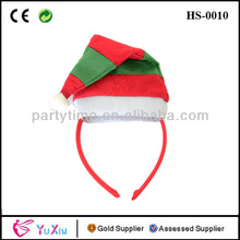 Mini Curved Christmas Santa Hat With Mistletoe On Headband Elf Costume Accessory