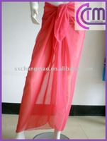 plain color chiffon beach sarong,pareo