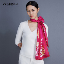 WENSLI 2017 Brand Bird Print 180*50cm Long Silk Necklace Scarf