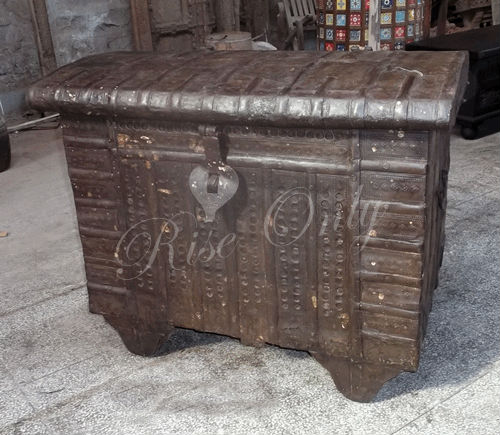 wooden antique trunk and box