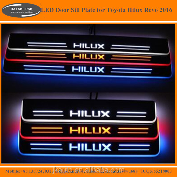 High Quality LED Door Sill Plate for Toyota Hilux Revo Best Selling LED Door Sill for Toyota Hilux Revo 2015 2016
