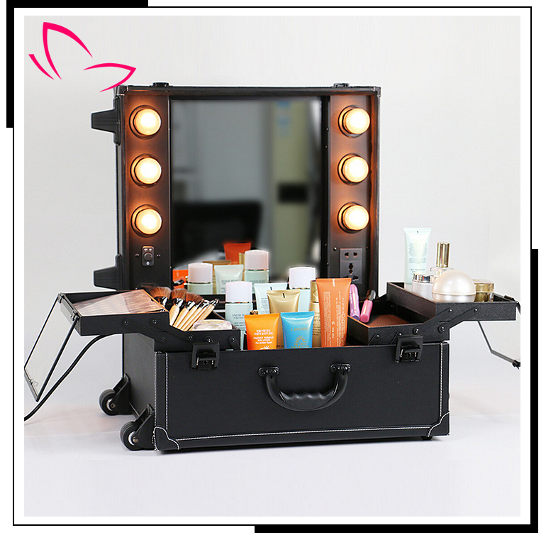 Hot sale professional aluminum makeup case with LED light