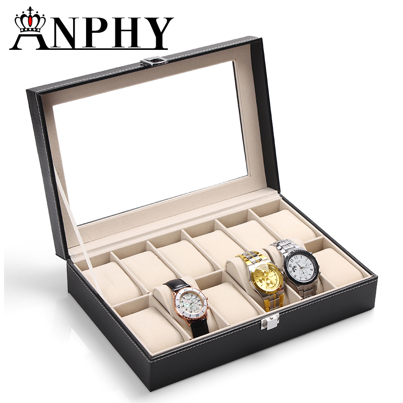 ANPHY C36 Fashion black pu leather 12 grids watch display box with window
