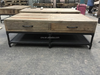 RE-1527 Industrial furniture recycled wood metal frame coffee table