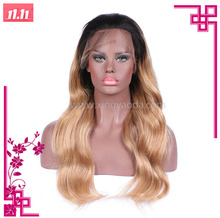 Brazilian Body Wave 1b/27 Color Full Lace Human Hair Wigs With Bleached Knots