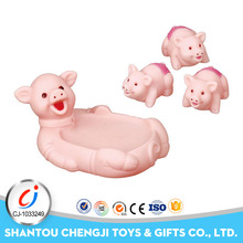 Funny rubber baby set bathing soft toy pink pig with BB sound