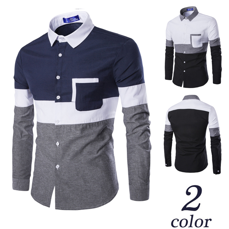 2016 New Oxford men's slim fit color blocking casual dress shirts