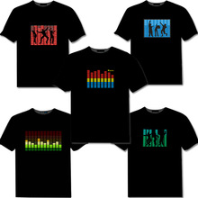 Factory Custom New Creation Voice-activated LED Light T Shirt