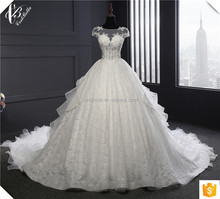 Real Photo Wedding Gown Plus Size Wedding Dress 2017 Long Train Ball Gown Muslim Wedding Dresses