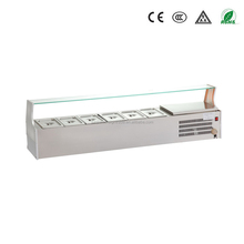 guangzhou manufacturer stainless steel bench table top salad bar with glass display for restuarant and hotel kitchen equipment