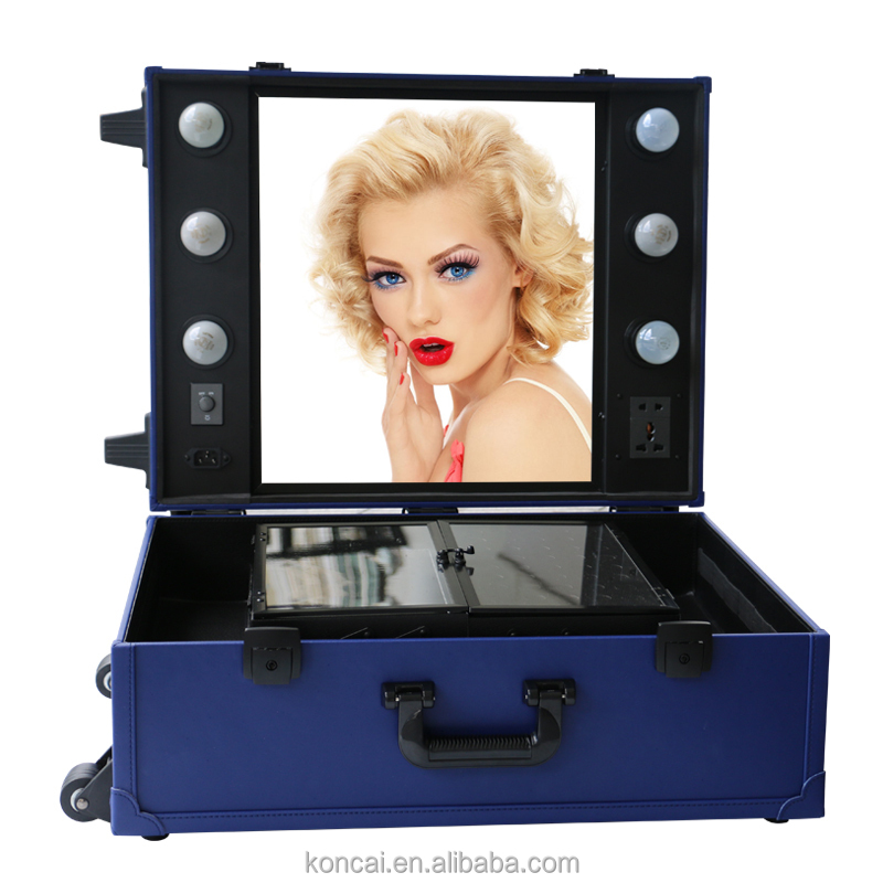 Hot sale PVC professional trolley makeup case with lightd mirror