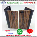 2015 New and Hot Sale book style case with wood back for iphone 6 Plus IPC365
