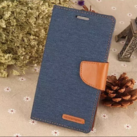 Hot selling products fashion beauty jean fabric wallet flip leather cover phone case for mobile phone