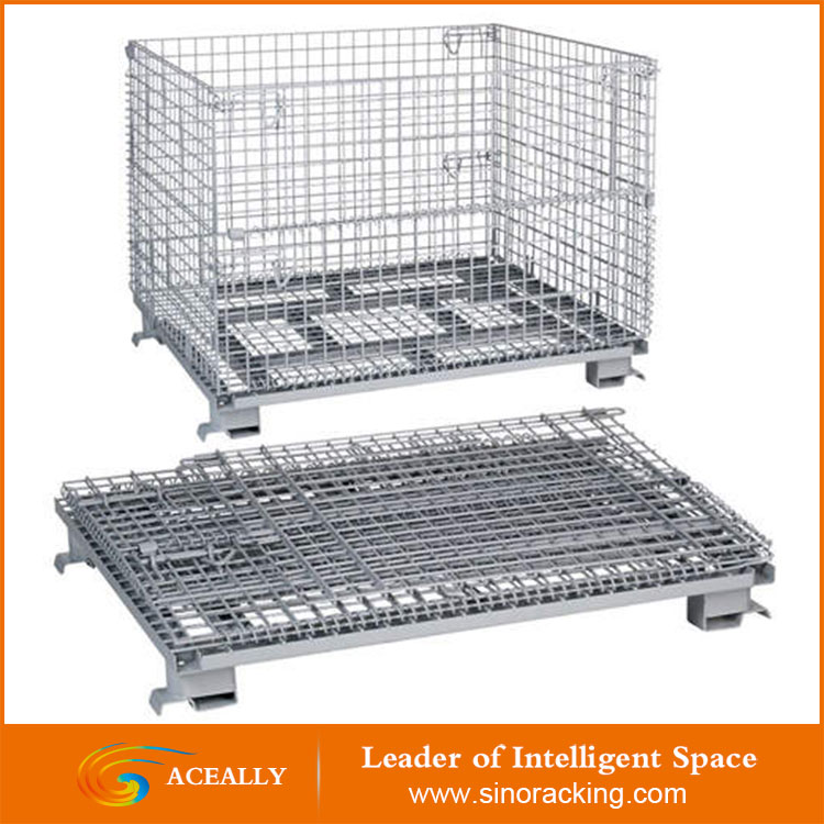 warehouse folding and stackable wire metal storage cage