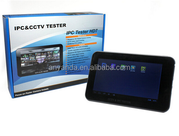 best touchscreen HD LCD ip camera tester 7'' portable tester cctv with 12V output