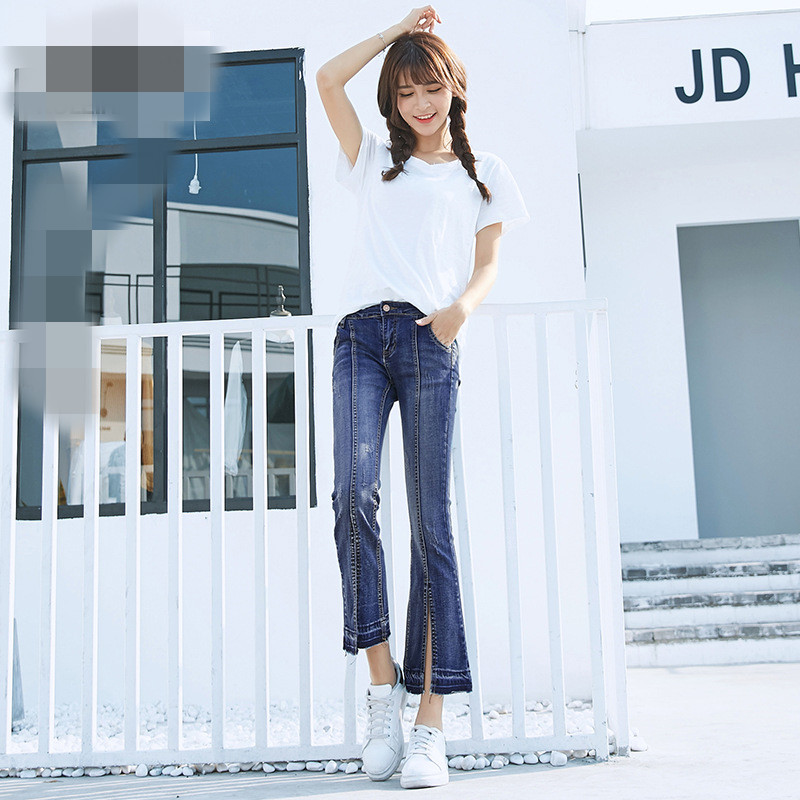 B21430A Korea lady flared Jeans lady Flared split trouser