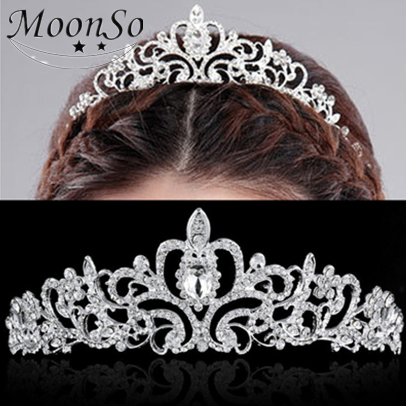 Jewelry Wholesale!!! 2016 NEW Fashion Wedding Hair Accessories for Women Crystal Crown Type Hair Comb Bridal MoonSo KH2615