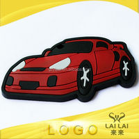 2014 new arrival attractive red car shape 3d logo sticker with PVC for luggage & bag