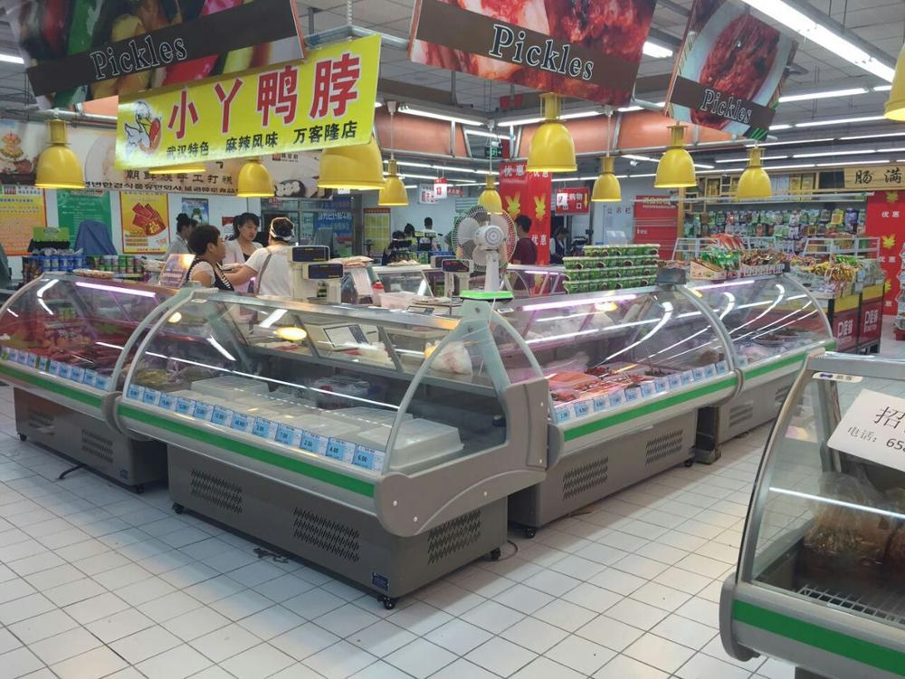 Commercial Open Counter Top Serve Over Used Freezer Deli Fish Cold Food Fresh Meat Display Refrigerator Case Fridge