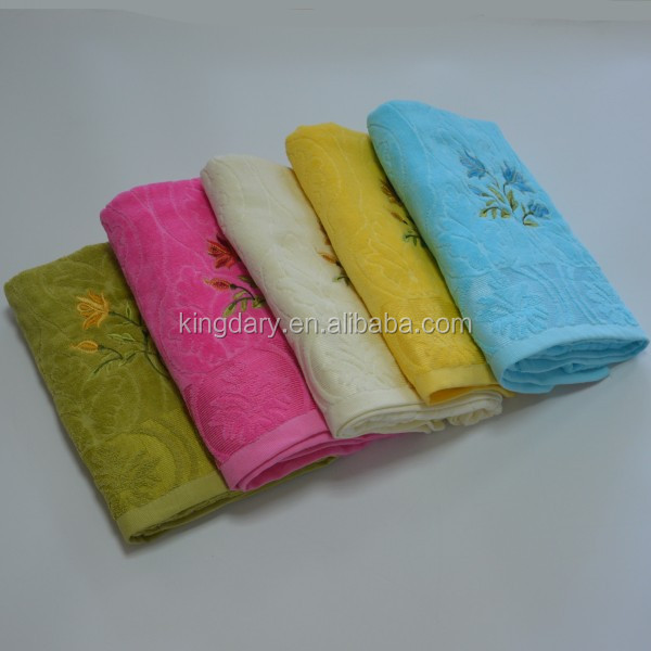 Embroidery with flower velvet jacquard bath towel 100 cotton