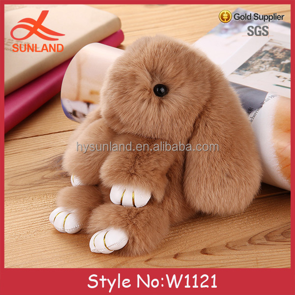W1121 New custom keychain fur pom keychain rabbit key chain fur ball keychain