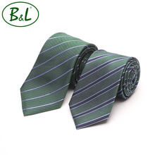 Good quality factory direct latest microfiber stripe green tie for men