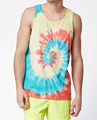 Tie-dyed tank top with spinning pattern