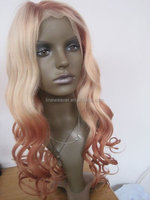 100% Chinese human hair Light pink ombre natural looking water weave lace front wig with bangs 22inch