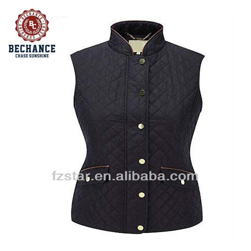 Woman winter warm nylon quilted black vest wholesale clothing NA088