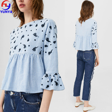 Chinese clothing manufacturers plus size clothing embroidery woman blouse