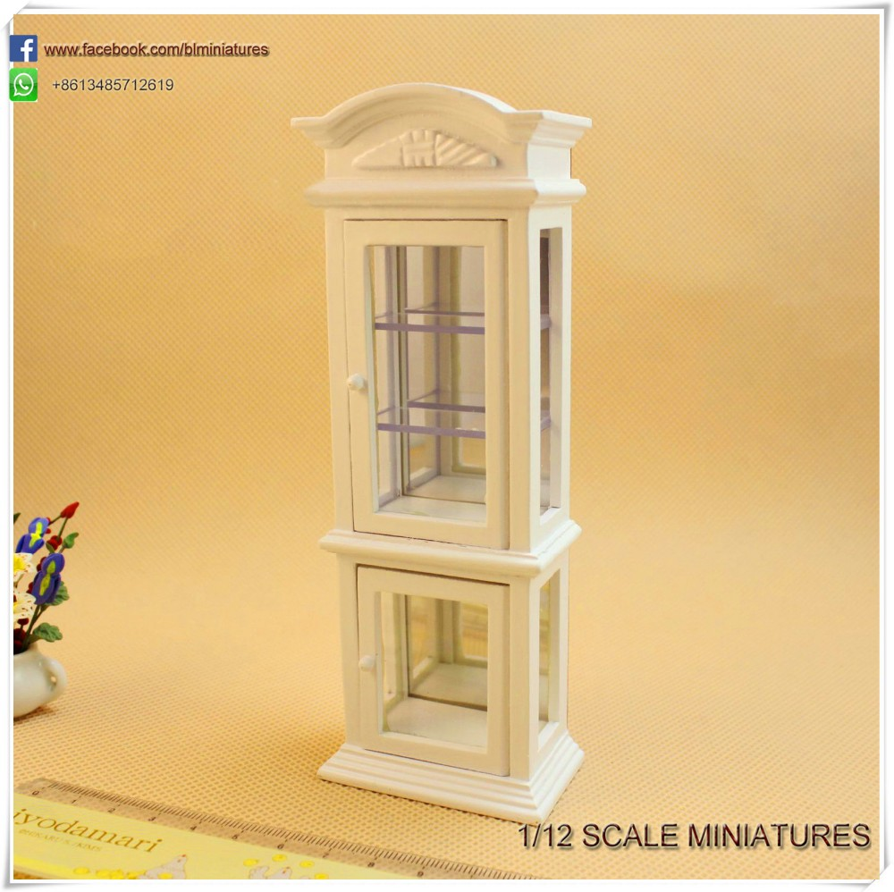 1:12 Scale Wooden White Display Case Miniature Dolls House Furniture