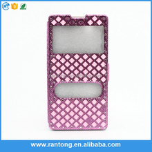 New arrival fine workmanship PU leather double window diamond mobile phone case for samsung galaxy grand 2
