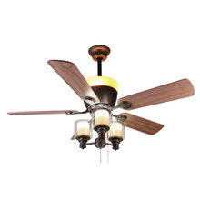 2019 low noise 52 inch Wood grain Remote control ceiling fan chandelier <strong>light</strong>