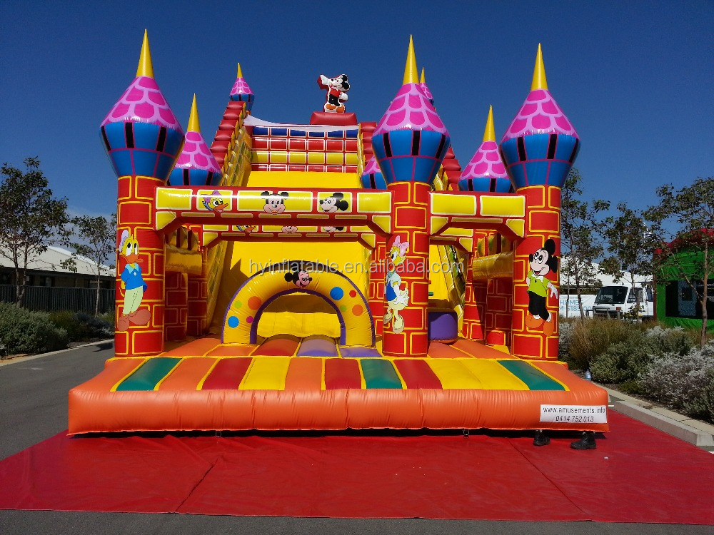 Mickey Mouse & Donald Duck inflatable castle slide,inflatable double lane cartoon bouncer slide for sale