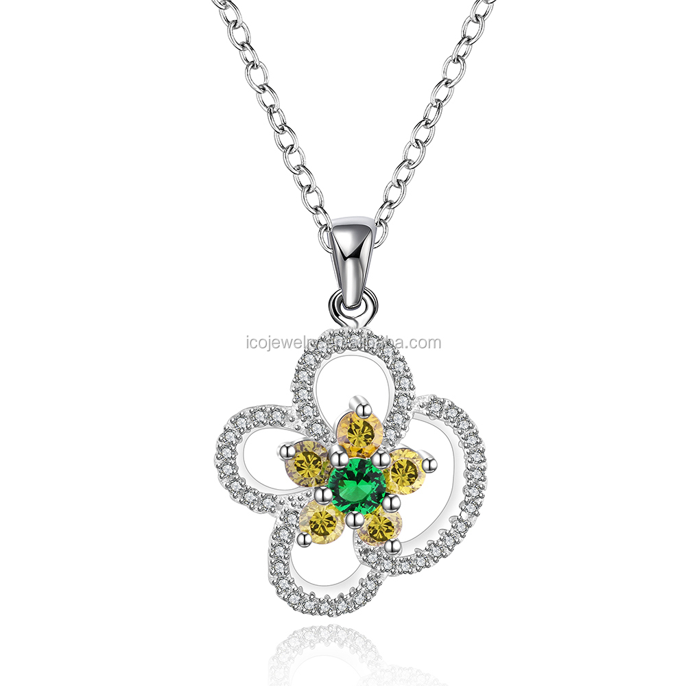 light brown and green stone flower shape charm necklace