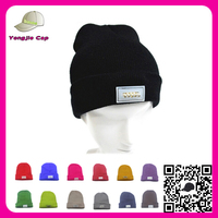 Wholesale custom knitted winter ski cap men's and women's crochet led beanie hat with forward led flashlight