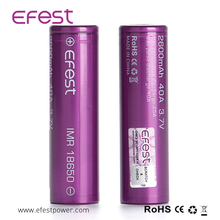 18650 40a battery 18650 2600mah 3.7v regchargable battery from efest