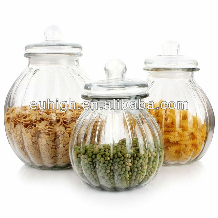 Clear Pumpkin Shape Storage Glass Jar with Glass Lids