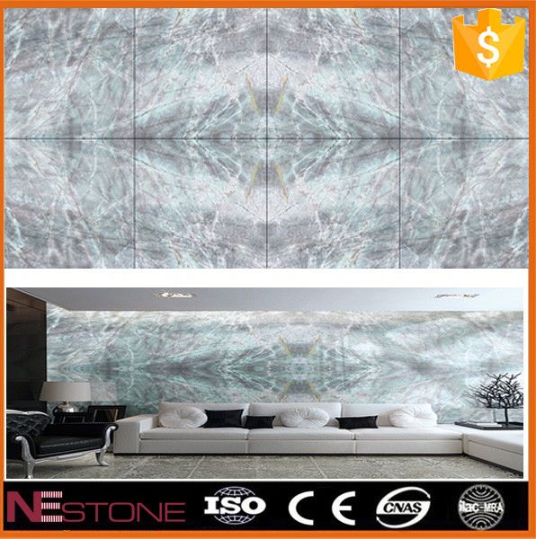 Interior designing beige marble onyx tub surround
