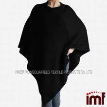 Wholesale hooded wool poncho crochet knit poncho