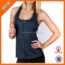 80% polyester 20% cotton women gym hoodie stringer with hood women vest/sport tank top