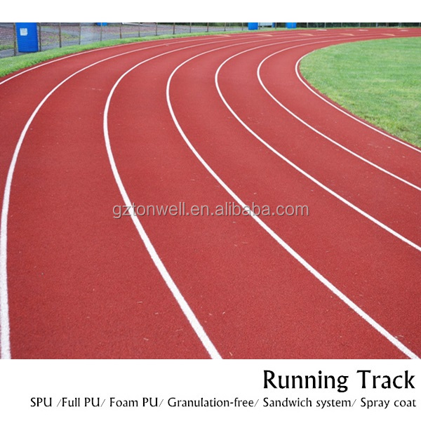 Permeable athletic track spray coating running surface material