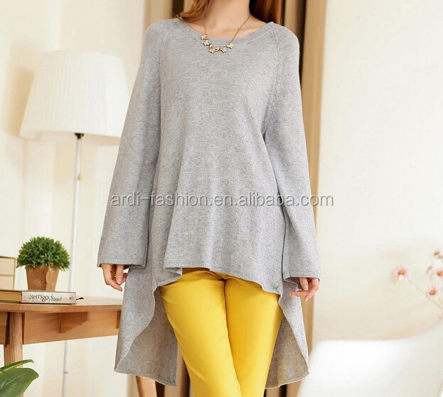 fashion design pop sleeve splited back ladies long pullover