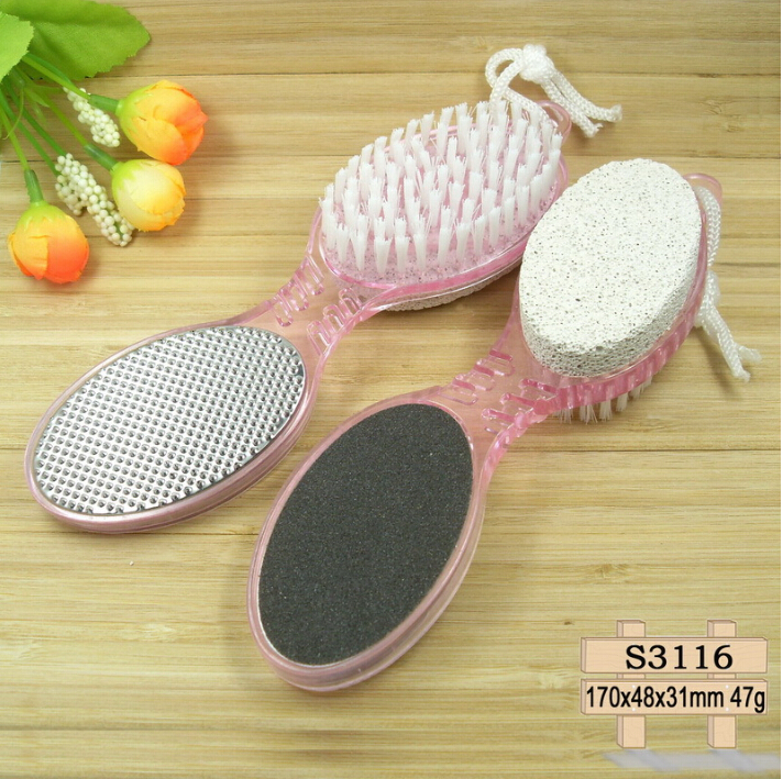 Nail Salon Manicure Pedicure Tool Cuticle Cure Nail Brush with Pumice & Emery Board