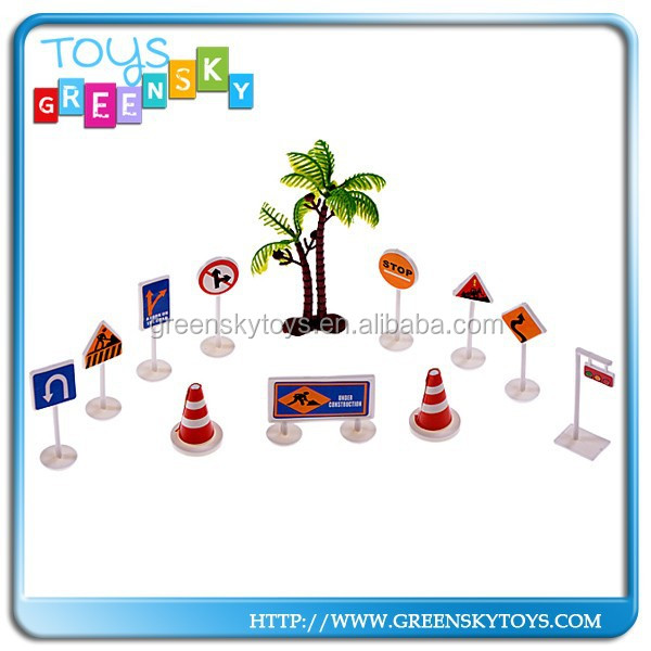 plastic toy traffic road signs