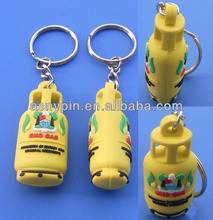 Creative funny promotional plastic gas cylinder keychain 3D logo key chain